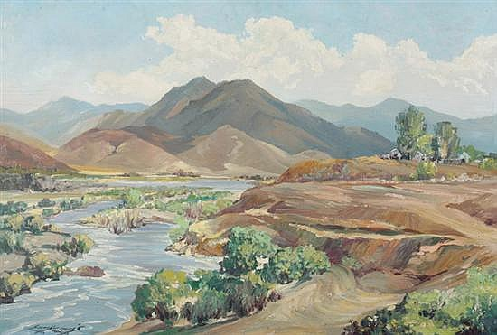 HARRY EMERSON LEWIS (American, 1892-1958). COOK'S PEAK, SILVERADO MOUNTAINS (NEAR BAKERSFIELD, CALIFORNIA), signed lower left. Oil on