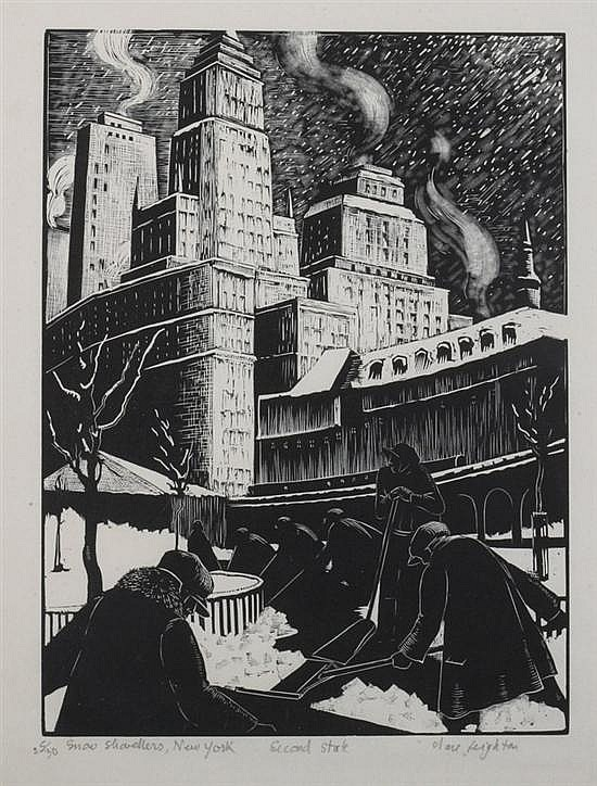 CLARE LEIGHTON (American, 1899-1988). SNOW SHOVELLERS, NEW YORK, signed, titled, numbered 25/30 and noted