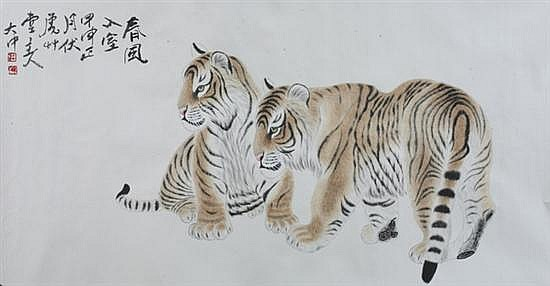 AFTER FENG DAZHONG. (Chinese, b.1949). TWO TIGERS, ink and color on paper scroll, signed and sealed.