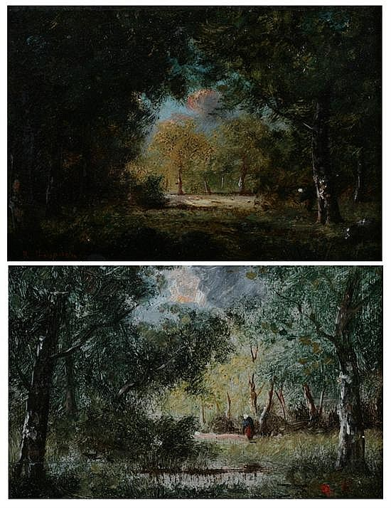 RENÉ GOURDON (French, b. 1848). THE FOREST AT FOUNTAINEBLEAU: A PAIR, first, signed lower left; second, initialed lower right. Oil on p