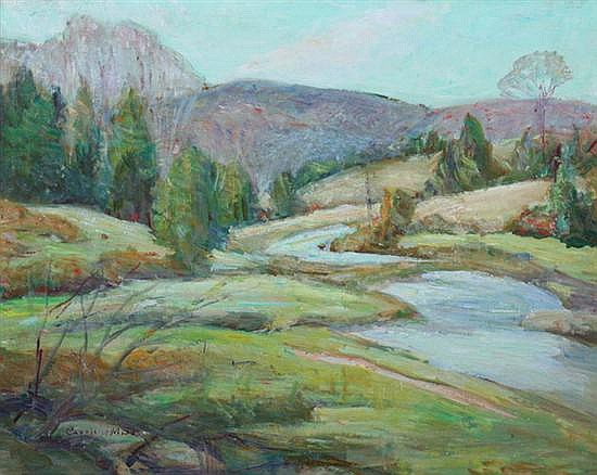 CAROLINE M. BELL (American, 1874-1970). RIVERSCAPE WITH MOUNTAIN VISTA, signed lower left. Oil on board.
