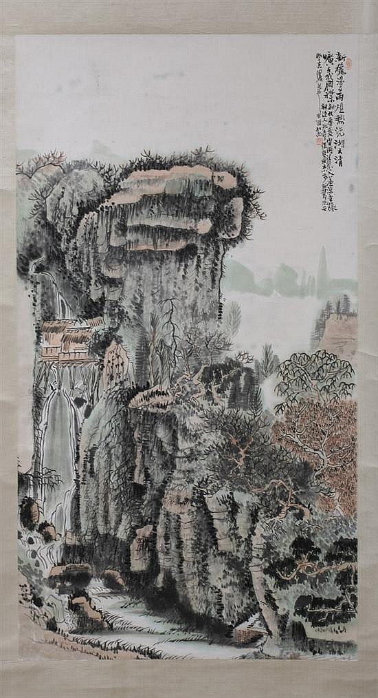 HUANG QIUYUAN (Chinese, 1914-1979). LANDSCAPE, color and ink on paper scroll, signed.