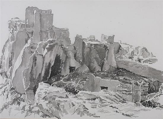 PRENTISS TAYLOR (American, 1907-1991). RUINS IV, signed lower right. Ink wash.
