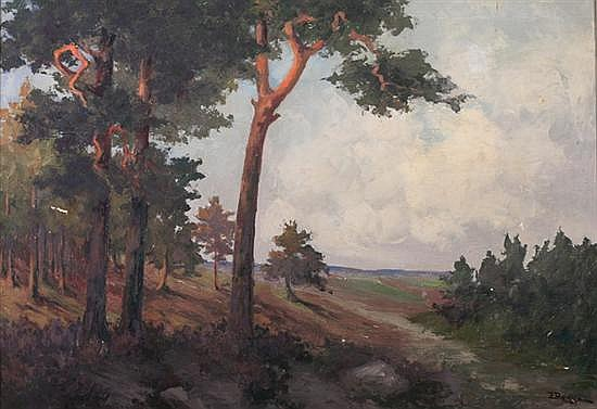 EMY ROGGE (German, b. 1866). WOODED LANDSCAPE, signed lower right. Oil on canvas.