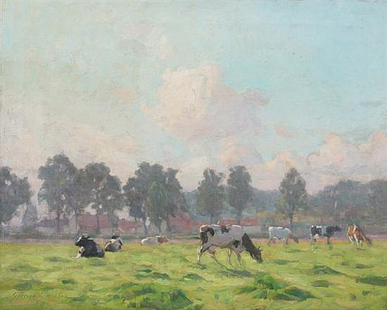 GERARD JACOBS (Belgian, 1865-1958). COWS IN SPRING MEADOW WITH DISTANT VILLAGE, signed lower left. Oil on canvas.