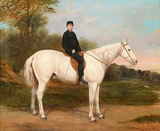 RICHARD DODD WIDDAS (English, 1826-1885). RIDER ON WHITE HORSE, signed and dated 1869 lower right. Oil on canvas.