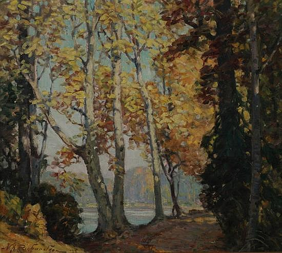 VOLNEY ALLAN RICHARDSON (American, b. 1880). THE SYCAMORES, signed and dated '33; also titled on a Buffalo Society of Artists/Albright