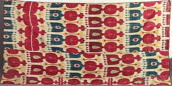 UZBEKISTANI SILK COTTON IKAT PANEL. 19th century. - 95 in. x 49 in.