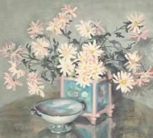 EUNICE CLAY SQUIRE PRITCHETT (African American, 20th century). STILL LIFE WITH DAISIES AND BOWL, signed and dated '34 lower right. Oil