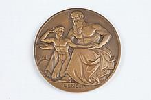 ADOLPH A. WEINMAN (German-American, 1870-1952). GENESIS-WEB OF DESTINY, Bronze relief medallion. The Society of Medalists 39th Issue- 1