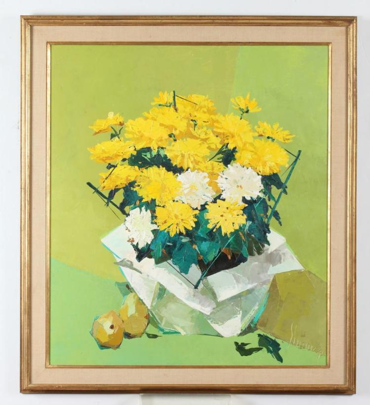 ANDREW SHUNNEY. (American, 1916-1979). YELLOW AND WHITE MUMS, signed lower right. Oil on canvas.