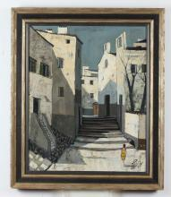 CHARLES LEVIER. (French, 1920-2003). RUE, signed lower right; also titled verso. Oil on canvas.