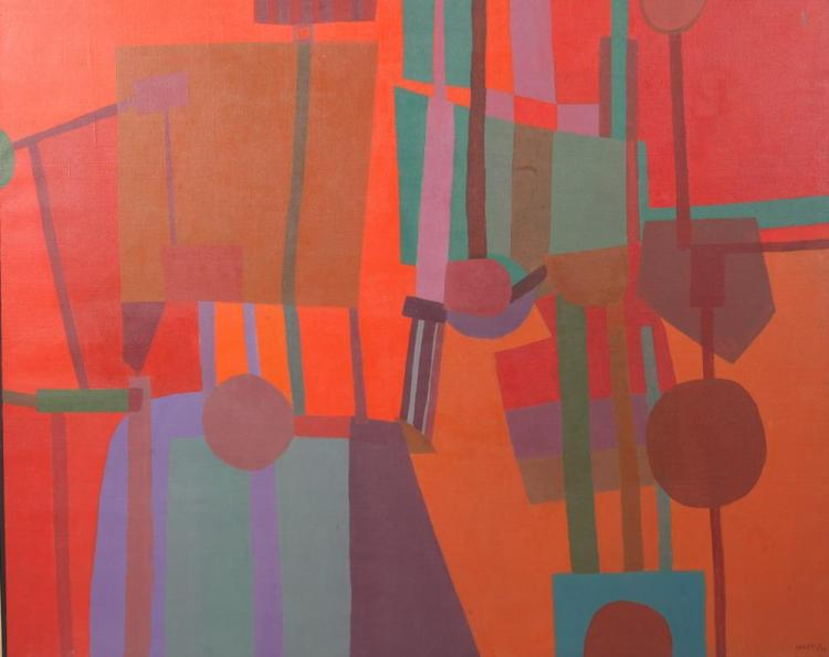 CAROLOS ARESTI (Chilean, b. 1944). ORANGE ABSTRACT, signed and dated '70 lower right. Oil on canvas.