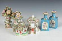 COLLECTION OF FOUR 19TH CENTURY PORCELAIN PERFUME BURNERS AND TWO FRENCH BLUE PORCELAIN PERFUME BOTTLES, Flower vases marked WT 36. The