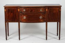 MAHOGANY SIDEBOARD IN THE HEPPLEWHITE STYLE BY POTTHAST BROTHERS, BALTIMORE, Mid-20th Century. Marked to drawer. - 38 7/8