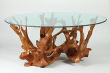 HIGH QUALITY CONTEMPORARY ORGANIC ROOT FORM CENTER TABLE WITH GLASS TOP. Contemporary. Unmarked. - 72