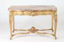 EARLY TO MID 19TH CENTURY LOUIS XV-STYLE CARVED GILTWOOD MARBLE TOP CENTER TABLE, Early-Mid 19th Century. - 30