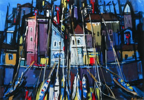 BRANKO KOVACEVIC Yugoslavian, b. 1911 BOATS IN A TOWN HARBOR, sign lower right.  Gouache on paper Sight: 22 1/2 in.  x 32 in.
