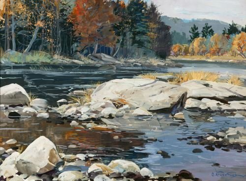 OTTMAR VON FUEHRER (Austrian/American, 1900-1967).  THE CLARION RIVER, COOKSBURG, PA.  Signed, lower right. Gouache on paper - Sight: 21 1/4 in. x 29