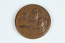MAGDELEINE MOCQUOT. (French, 1910-1991). DECLARATION OF INDEPENDENCE OF THE UNITED STATES OF AMERICA, Bronze relief medallion. No. 120/