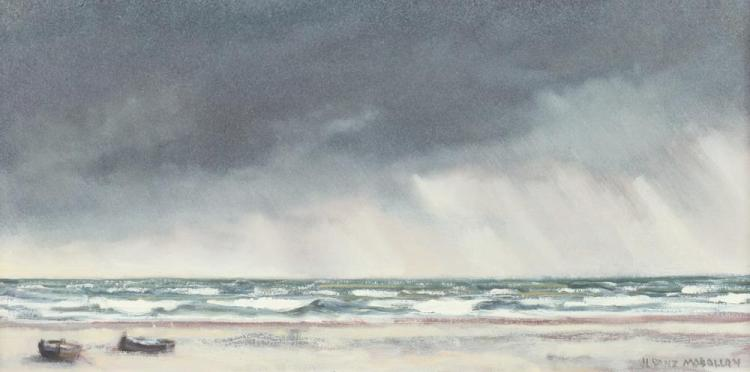 DJOSE LUIS SANZ MAGALLON (Spanish, 1926-2000). TORMENTA EN LA PLAYA, signed lower right and titled on reverse. Oil on canvas.