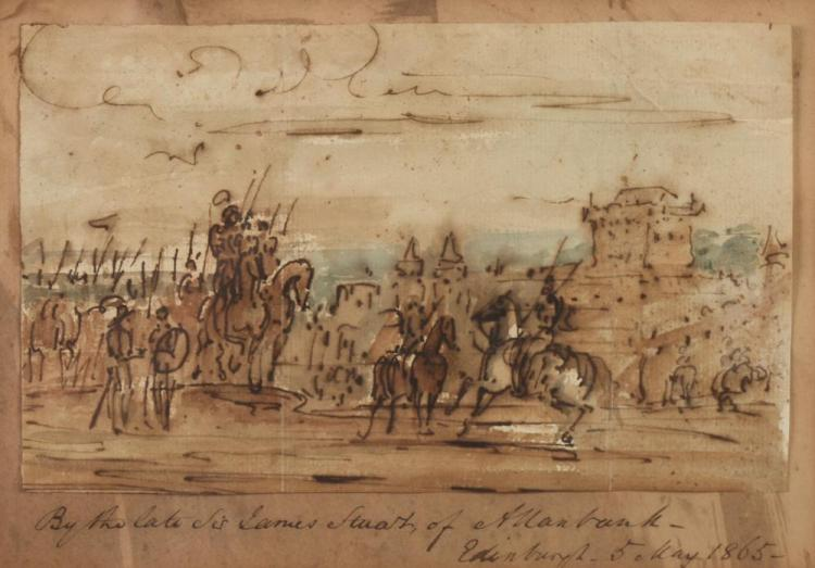 ATTRIBUTED TO SIR JAMES STUART (19th century). SOLDIERS ON HORSEBACK, inscribed lower margin,