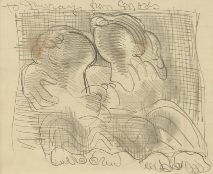 MOSES SOYER (American/Russian, 1899-1974). FRIENDS, signed and inscribed upper margin. Pencil on paper.