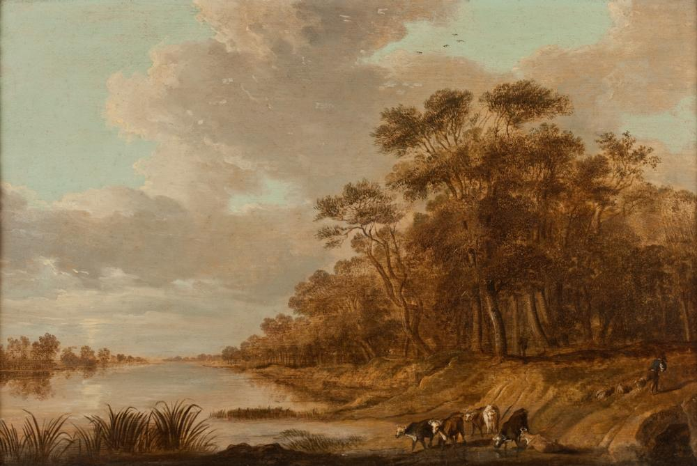 SCHOOL OF JAN JOSEFSZ VAN GOYEN. (Dutch, 18th/19th century). COWS AND GOAT HERDER AND GOATS BY THE RIVERSIDE, titled on label verso. Oi