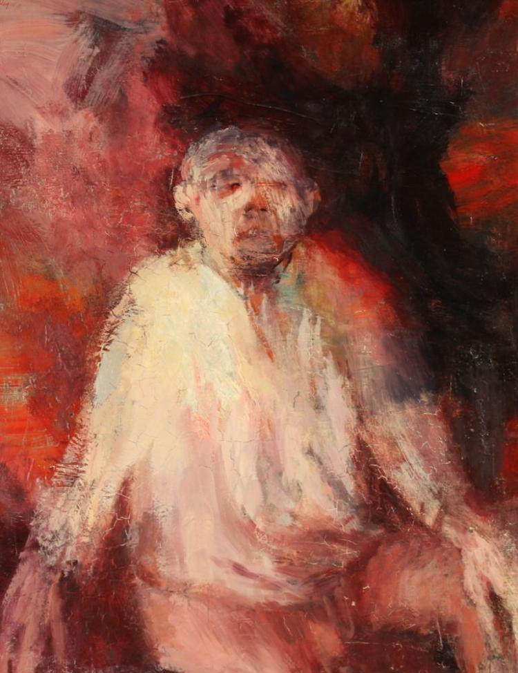 CHARLES K. SIBLEY (American, 1921 - 2005). SEATED FIGURE, signed upper left. Oil on board.