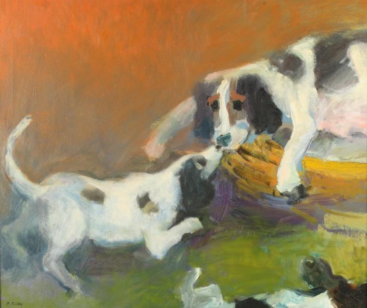 CHARLES K. SIBLEY (American, 1921-2005). BEAGLES AT PLAY, signed lower left. Oil on canvas.