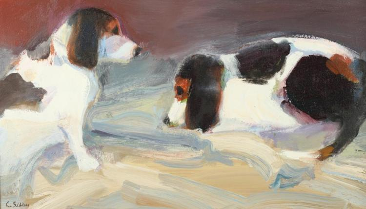 CHARLES K. SIBLEY (American, 1921-2005). TWO BEAGLES AT REST, signed lower left. Oil on canvas.
