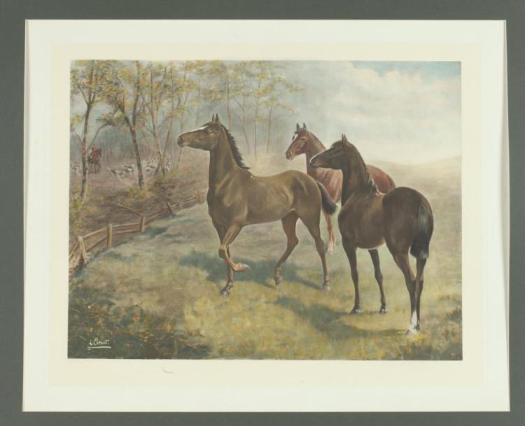 EARLY 20TH CENTURY FRAMED HANDCOLORED SPORTING PHOTOGRAVURE OLD FAMILIAR MUSIC, LILIAN CHEVIOT AFTER THOMAS PERCY EARL, Lilian Cheviot