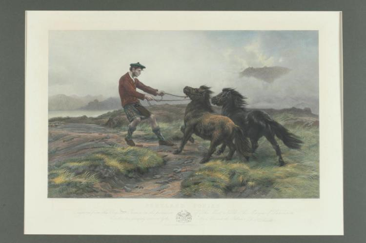 19TH CENTURY ENGRAVING, SHETLAND PONIES, AFTER ROSA BONHEUR, Rosa Bonheur (French 1822-1899). Published by F. Herbault, London, January