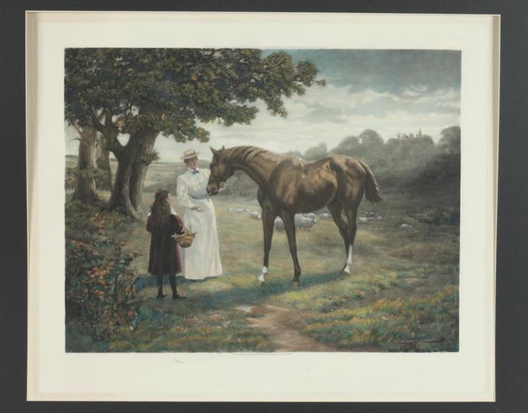 19TH CENTURY PASTORAL LANDSCAPE WITH HORSE & FIGURES, HANDCOLORED PHOTOGRAVURE AFTER ADRIAN JONES , Adrian Jones (1846-1938). Published