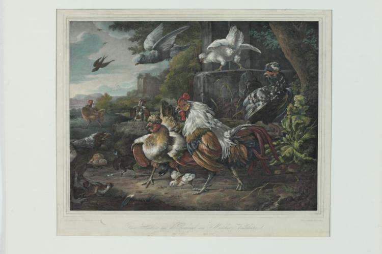 19TH CENTURY LITHOGRAPH AFTER MELCHOIR D'HONDECOETER, THE CHICKENS & BIRDS OF PREY, Published Dresden, by Fr. Hanfstaengel, 1838.