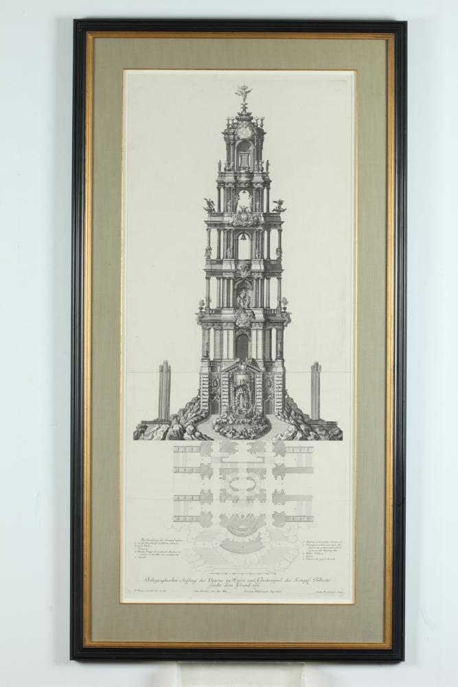 LARGE NICELY FRAMED 18TH CENTURY PAUL DECKER ARCHITECTURAL ENGRAVING, ARCHITECTURA CIVILIS, Published Augsberg, 1711-16. by P. Detleffs