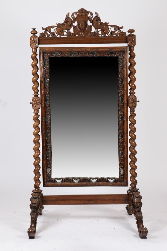 19TH/20TH CENTURY BARLEY TWIST CHEVAL MIRROR IN THE RENAISSANCE REVIVAL STYLE. 19th/20th Century. - Approx. 7' high x 43