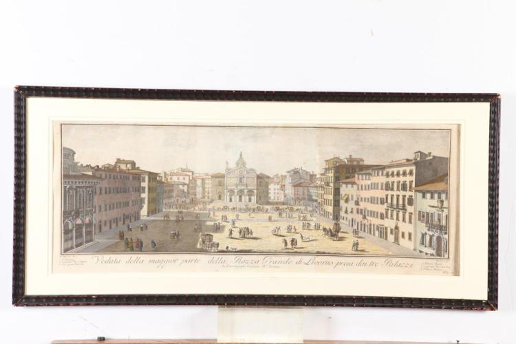 18TH CENTURY, OF THE PERIOD, HANDCOLORED ENGRAVING, ITALIAN VIEW OF LIVORNO. 18th Century. - Framed: 15 1/2