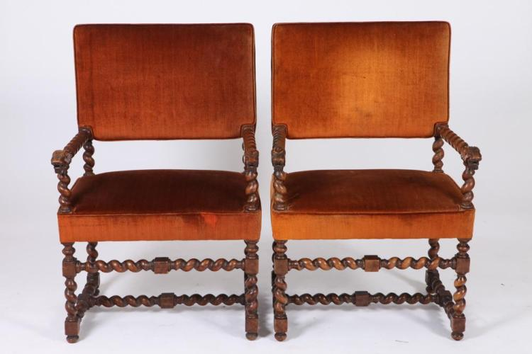 PAIR OF 19TH/20TH CENTURY BARLEY TWIST ARM CHAIRS UPHOLSTERED IN RUST VELVET. 19th/20th Century. - 38 5/8