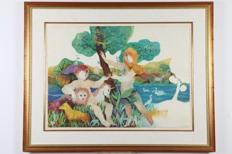 ALVAR SUÑOL (Spanish, b. 1935). GARDEN OF EDEN, signed in pencil lower margin. Lithograph with embossing.