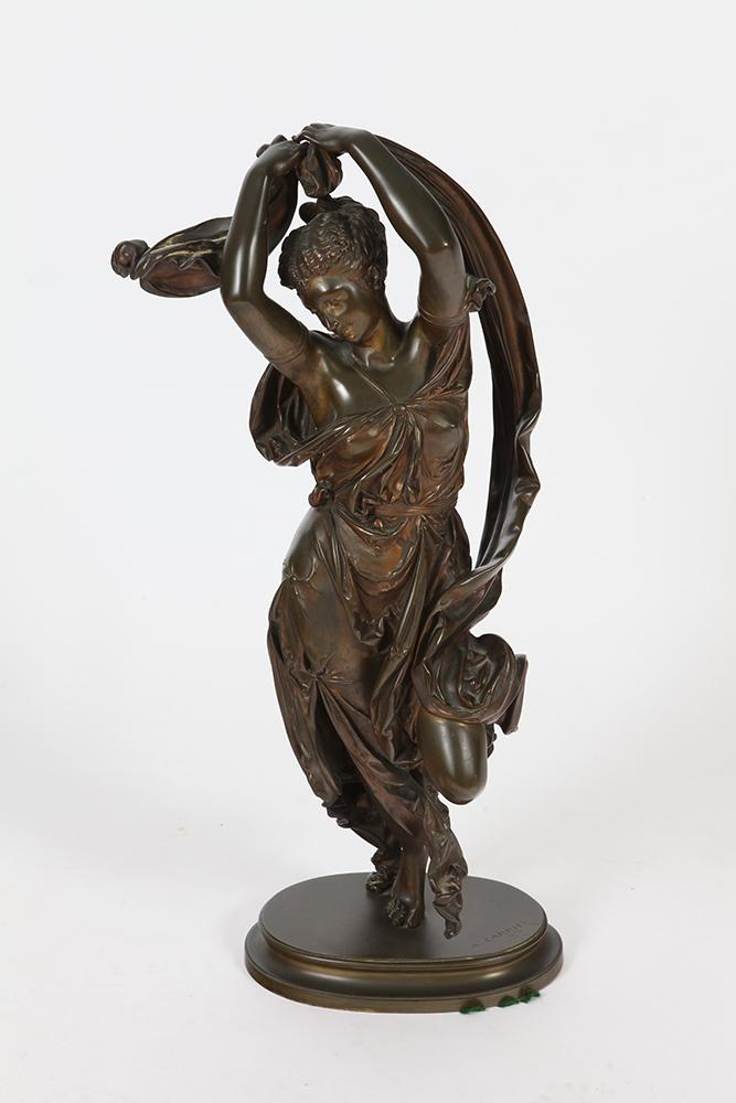 AFTER AUGUSTE JOSEPH CARRIER (French, 1800-1875). DANCING WOMAN, signed. Bronze with pedestal.