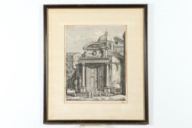 FRAMED EARLY 19TH CENTURY ROSSINI ENGRAVING, TEMPLE OF REMO, Early 19th Century. - 28 1/2