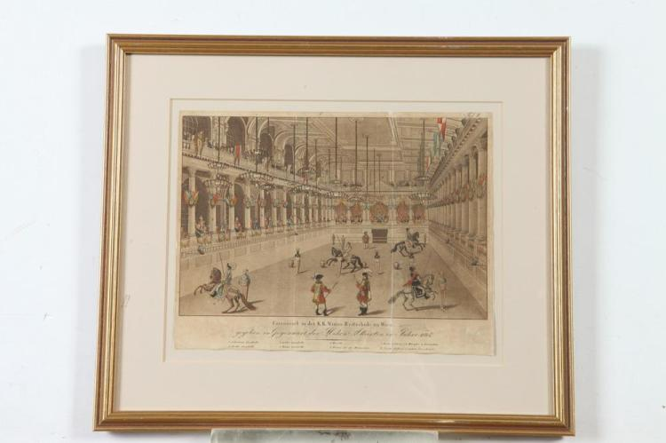 SMALL GILTWOOD FRAMED, OF THE PERIOD, EARLY 19TH CENTURY ENGRAVING OF THE SPANISH RIDING SCHOOL IN VIENNA, Circa 1814. - 11 1/4