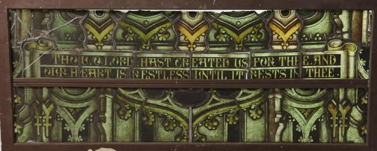 HORIZONTAL ECCLESIASTICAL STAINED GLASS PANEL IN GREEN GLASS, - 24 1/2
