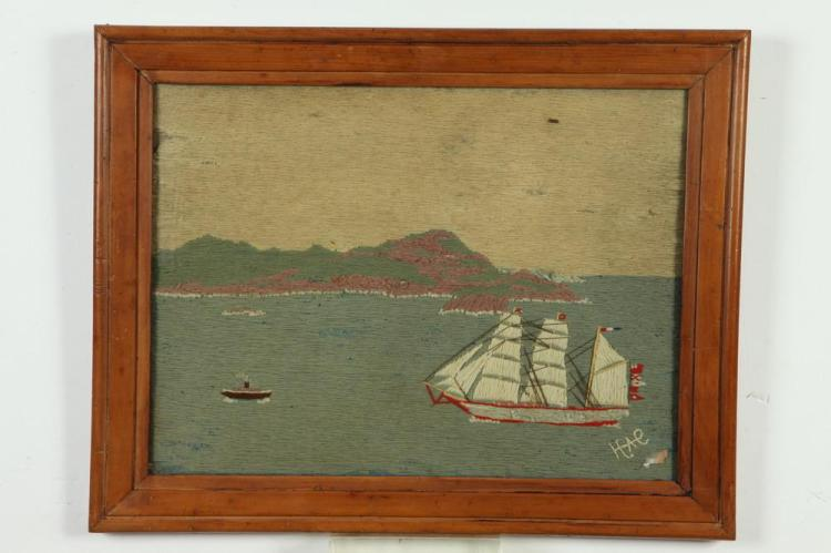 19TH CENTURY SIGNED WOOLWORK PICTURE OF A SAILING SHIP, 19th Century. - 18 1/8