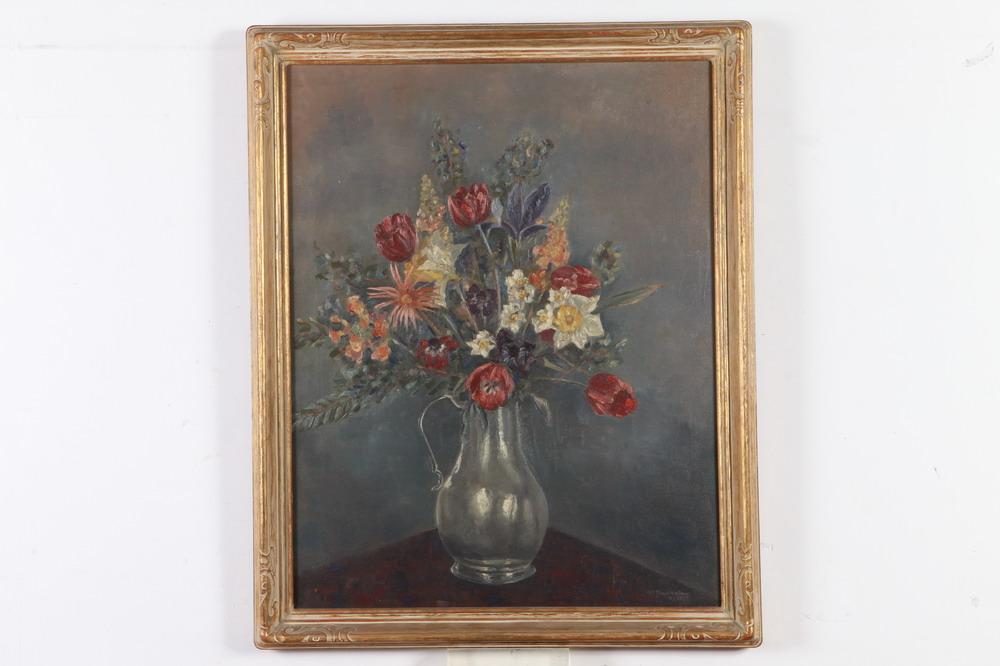 AMERICAN SCHOOL (20th century). FLORAL STILL LIFE, oil on canvas.