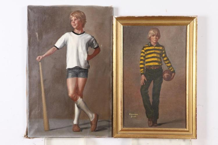 P. RICHARD EICHMAN (American, 1941-2001). PORTRAITS OF BOYS: TWO WORKS, oil on canvas.