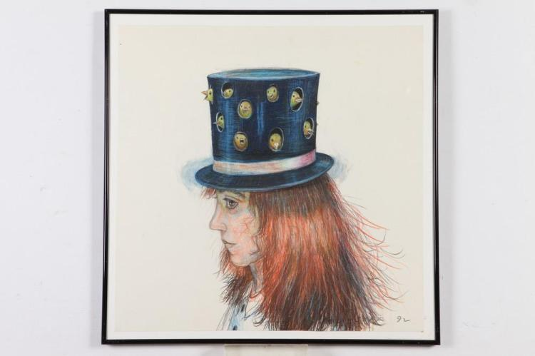 JODY MUSSOFF (American, b. 1952). TOP HATS: TWO WORKS, each signed and dated '1992 lower right. Colored pencil.