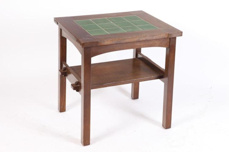 20TH CENTURY MISSION STYLE TABLE WITH GREEN TILE INSET. 20th Century. Unmarked. - 26
