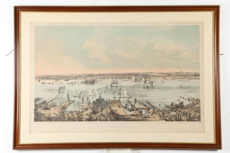 WOOD FRAMED, OF THE PERIOD, LITHOGRAPH, VIEW OF PHILADELPHIA FROM CAMDEN, AFTER BENJAMIN FRANKLIN SMITH, After Benjamin Franklin Smith